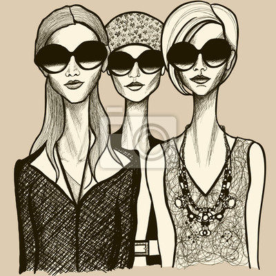 tableau poster trois femmes avec des lunettes de soleil dessin belles et bien dans votre peau. Black Bedroom Furniture Sets. Home Design Ideas